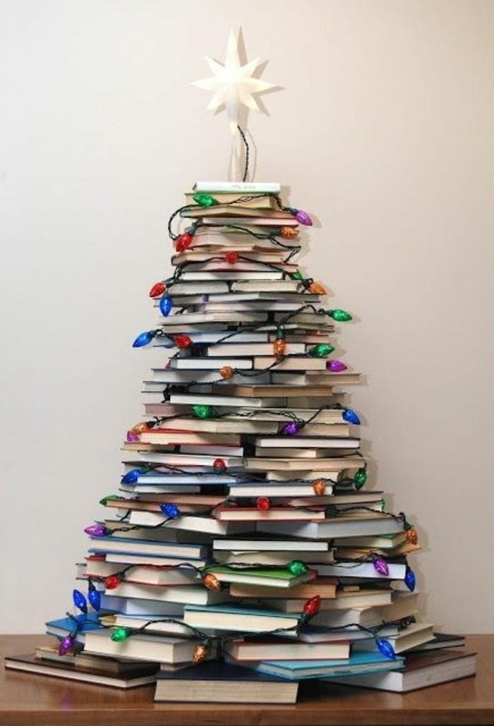 weihnachtendekoration-selber-machen-weihnachtsdeko-ideen-weihnachtsbaum-aus-bucher