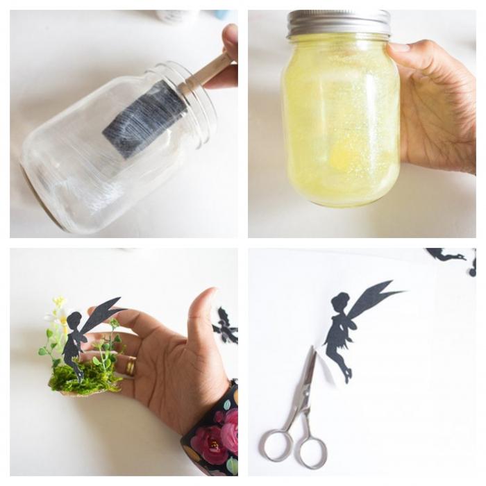 windlicht basteln kinder glas und moos papierfiguren schneiden