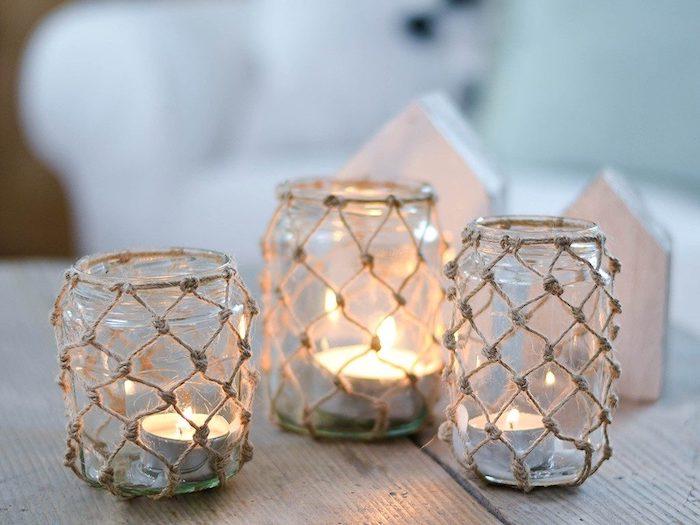 windlicht machen herbstdeko aus einmachglas makramee netz tischdeko