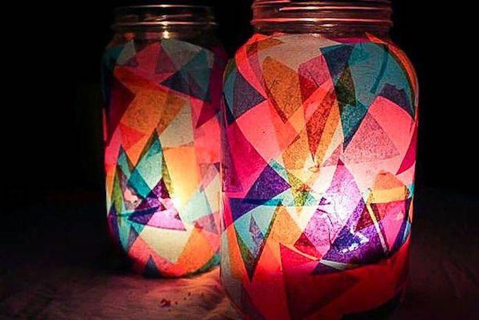 windlichter basteln mit transparentpapier verschiedene farben kleben