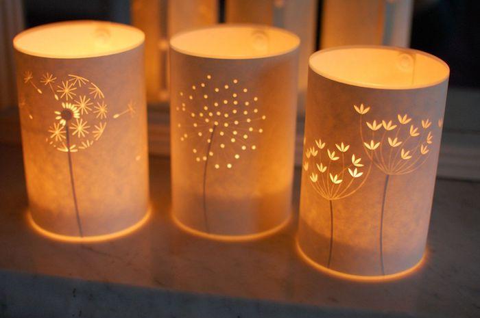 windlichter selber gestalten basteln mit transparentpapier plastikflasche papier