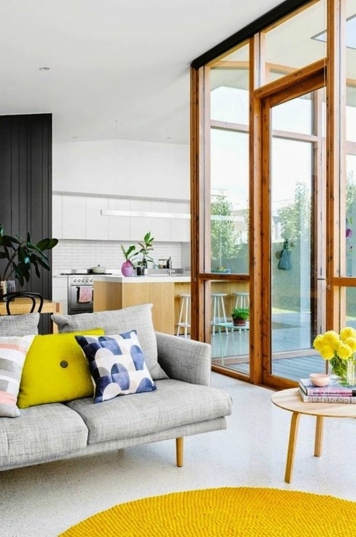 Dekor wohnzimmer gelb for Zimmer deko violett
