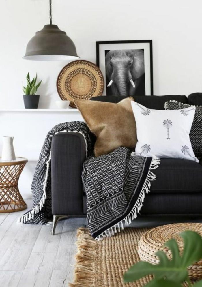 wohnzimmer deko schwarz weiss