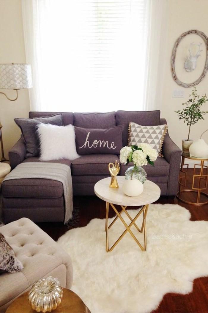wohnzimmer grau violett beige wandfarbe