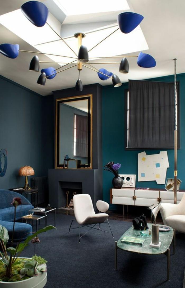 Wohnzimmer Weiß Grau Blau