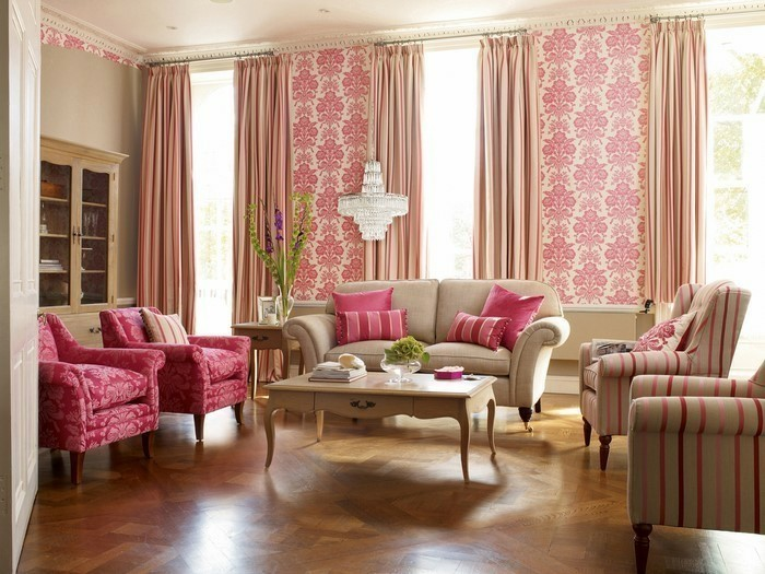 Wohnzimmer Gardinen Wei Beige Braun Sofa Sessel Gestreift Leichte