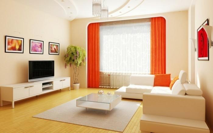 wohnzimmer-gardinen-ideen-in-grelle-farben
