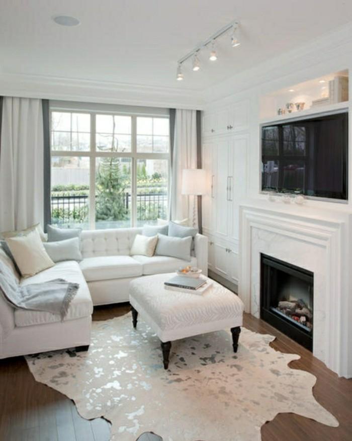 Wohnzimmer Gardinen Weiß Grau
