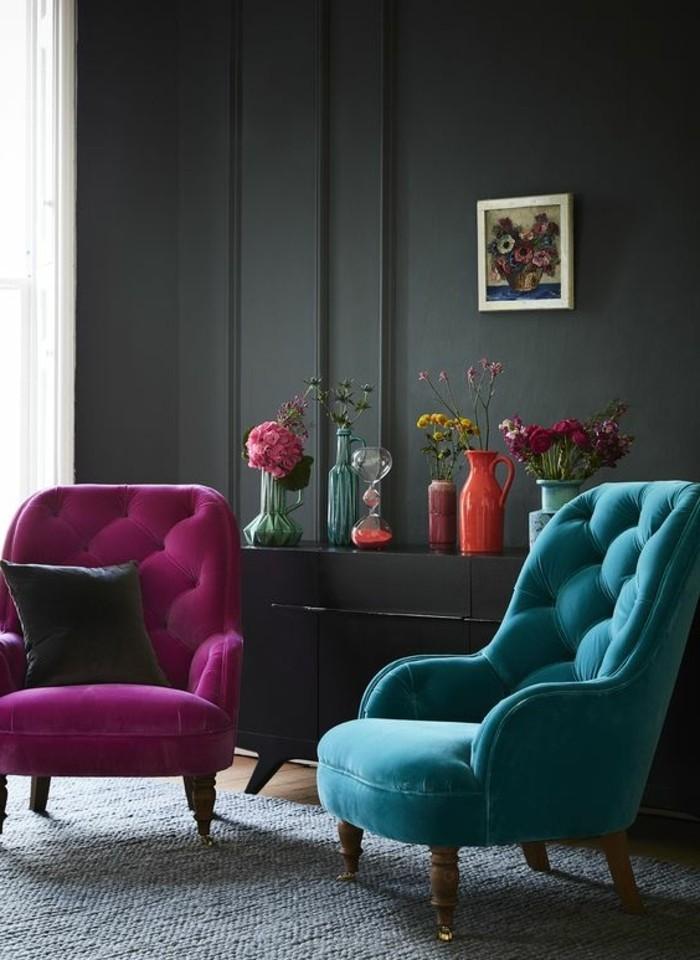 wohnzimmer blau gestalten:Wohnzimmer Möbel in violett und blau ...