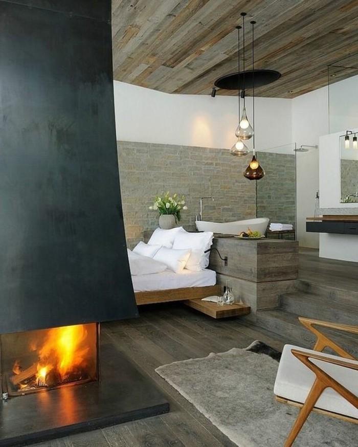 wohnzimmer modern luxus mit kamin. Black Bedroom Furniture Sets. Home Design Ideas