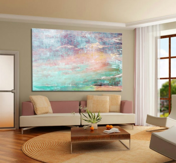 leinwandbilderxxl-wz-runder-teppich-rosa-weise-couch-holztisch-pflanze