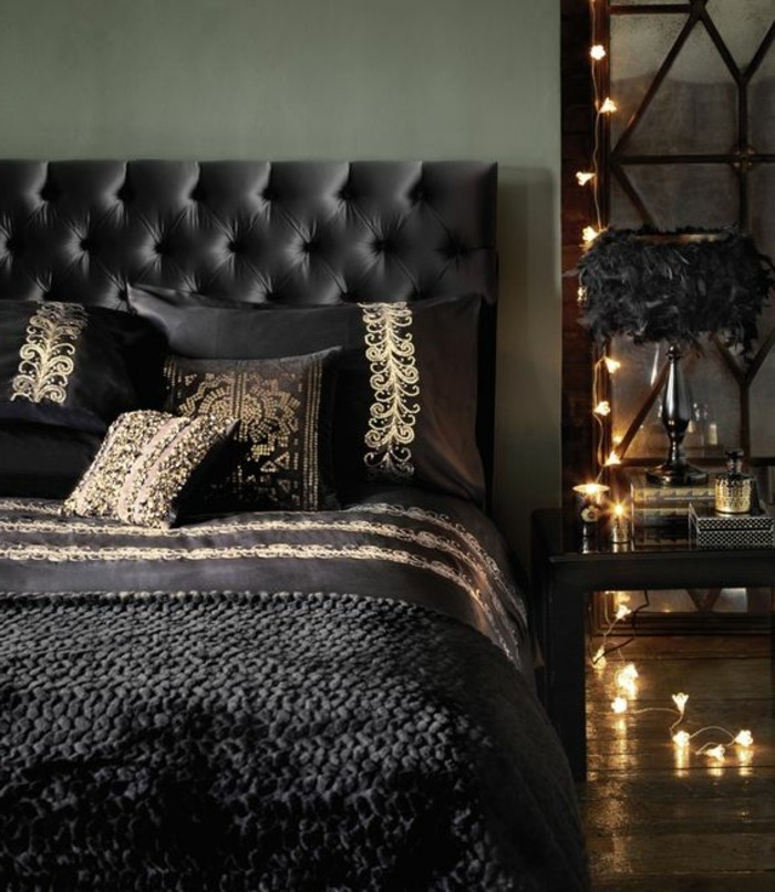 5 Deko Ideen Schlafzimmer Schwarzes Bett Kissen Beleuchtung