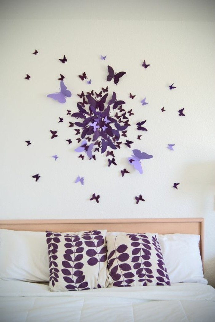 Ordinary Wanddekoration Schlafzimmer Selber Machen #12: 6-wanddeko-selber-machen-schmetterling-deko-schlafzimmer-lila-