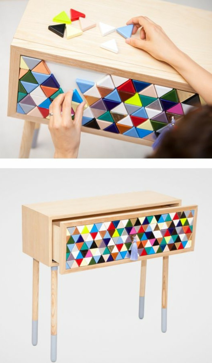 7-diy-moebel-kreative-wohnideen-kleiner-schrank-aus-holz-mit-mosaik