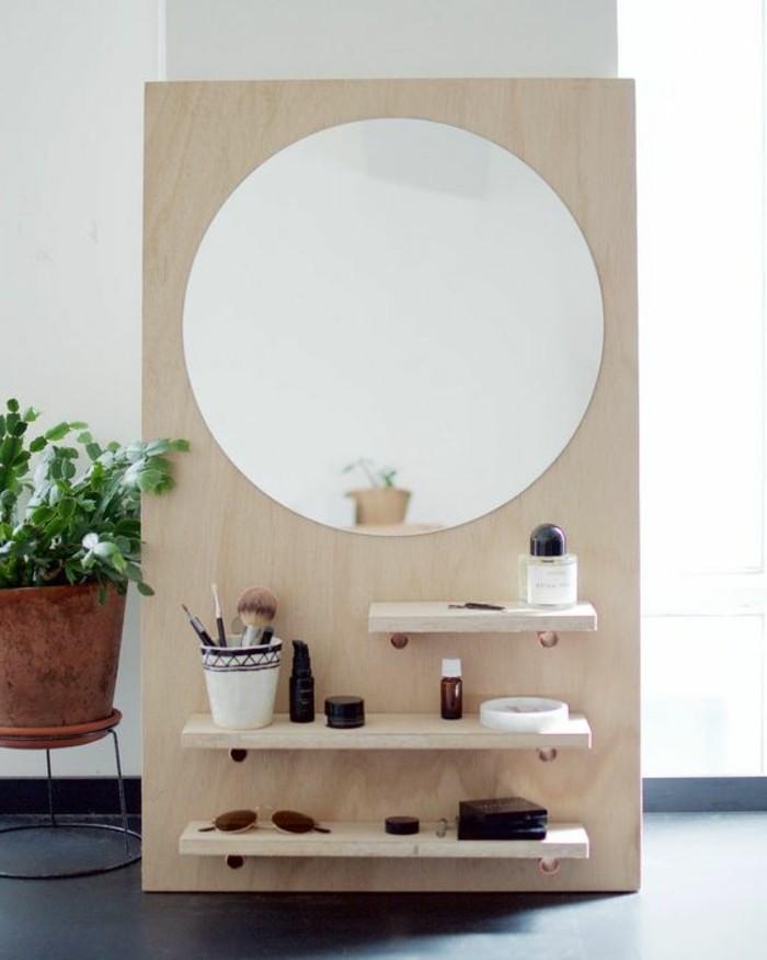 9-diy-moebel-kreative-wohnideen-schminktisch-aus-holz-mit-rundem-spiegel