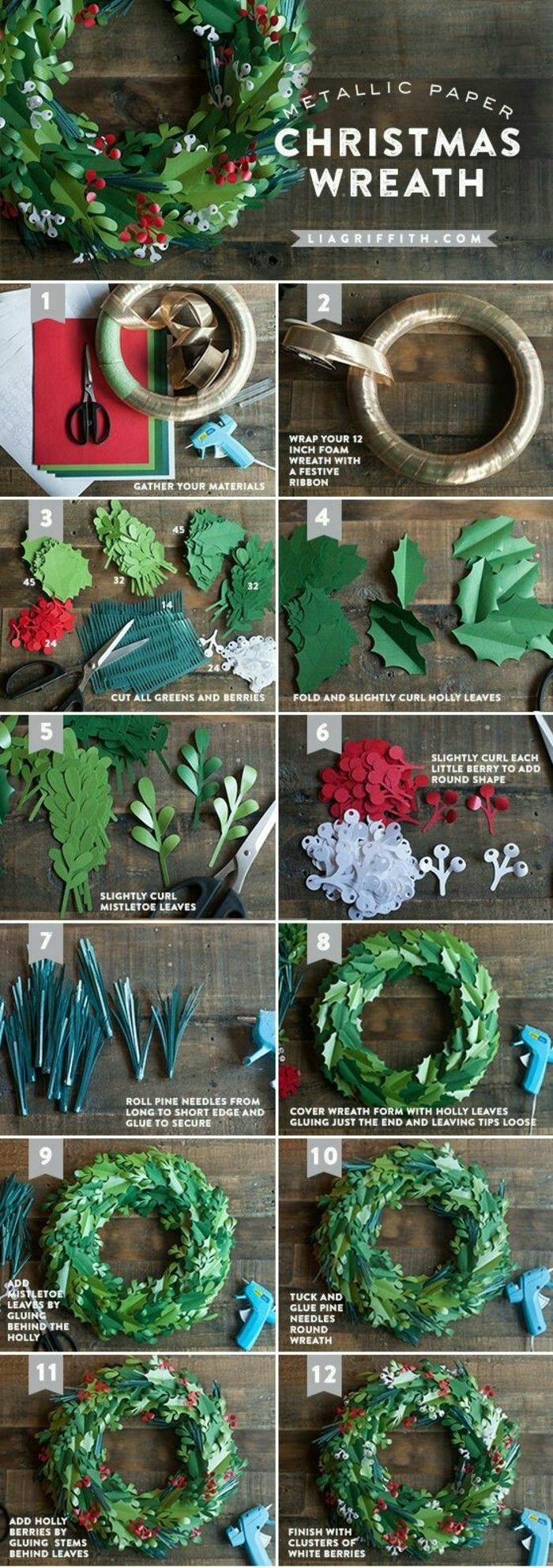 anleitung diy schritt für schritt weihnachtskranz tür selber machen kreative bastelideen weihnachten grüner kranz aus papier