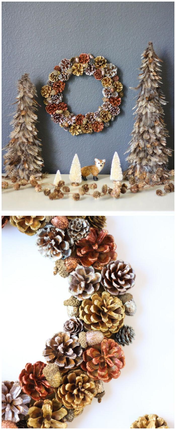 ausgefallene bastelideen weihnachten inspiration weihnachtskranz selber basteln aus tannenzweigen kleine weihnachtsbäume deko