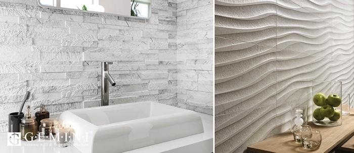 bad fliesen ideen bilder, 3d wandpaneele im badezimmer, glasvase mit grünen äpfeln, baddeko modern