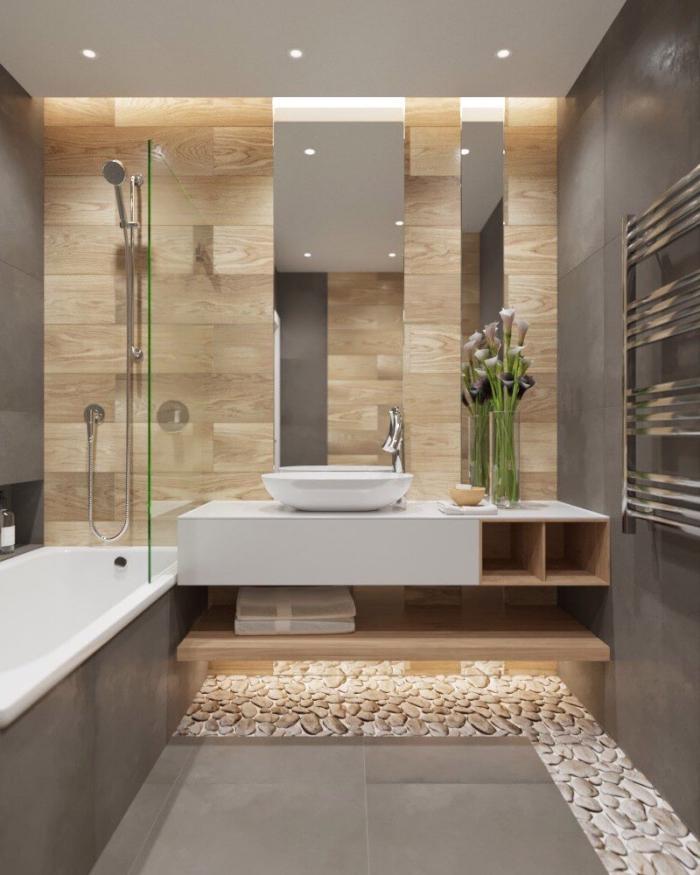bad fliesen ideen bilder, badeinrichtung in naturfarben, vase mit blumen, langer spiegel, eingebaute badewanne
