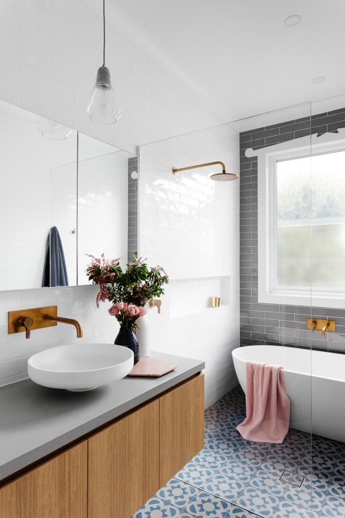 badezimmer deko, kleid bad einrichten und dekroeiren, schwarze vase mit blumen, runder waschbecken mit unterschrank in holz optik