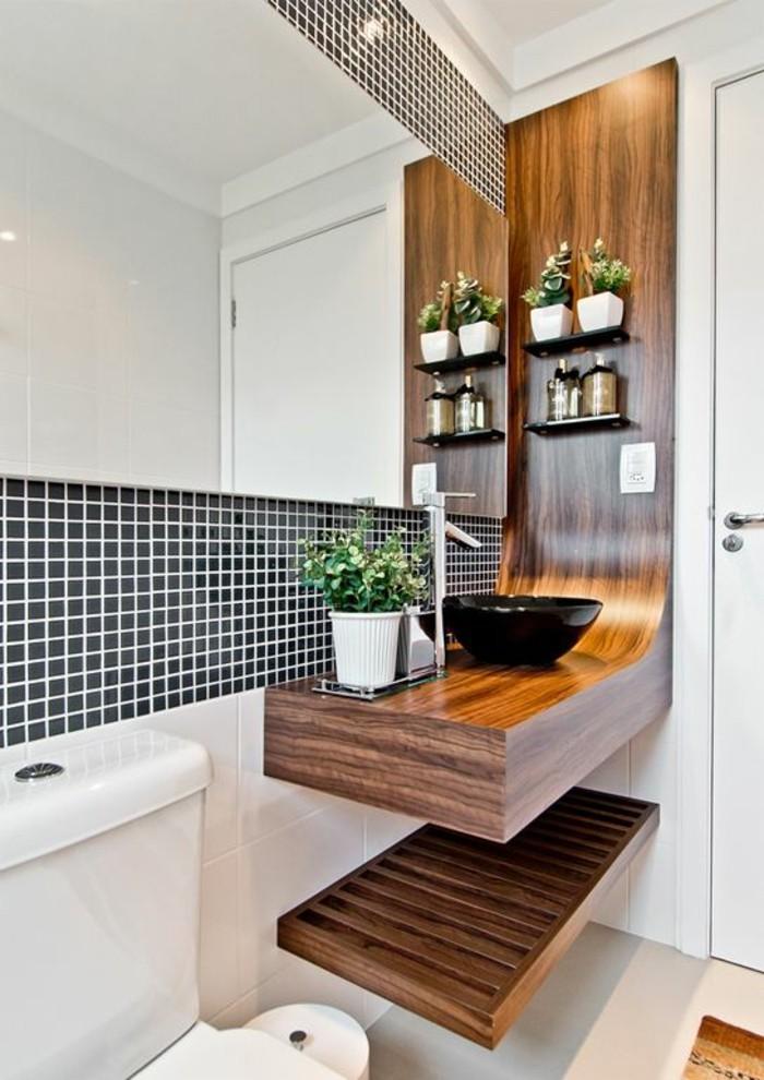 Badezimmer Deko Baddesign In Weis Und Schwarz Holz