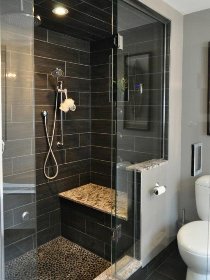 Badezimmer Deko Badgestaltung In Grau Duschkabinne