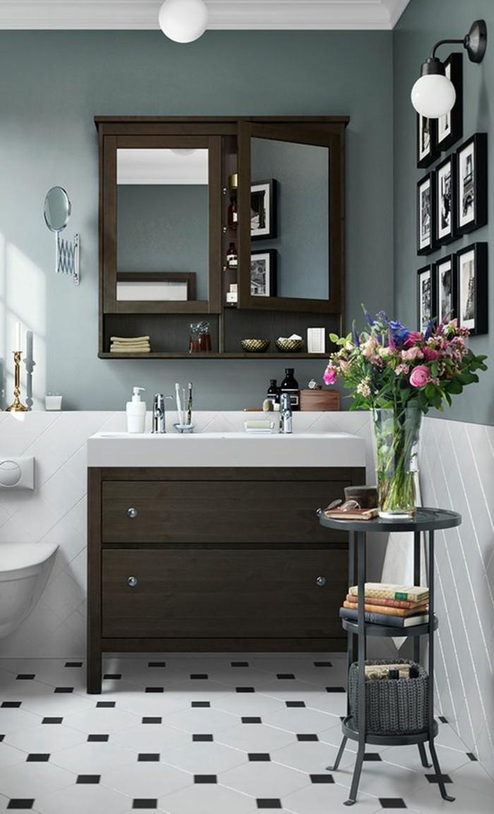 badezimmer-deko-moderne-bader-brauner-schrank-blumen-fotos