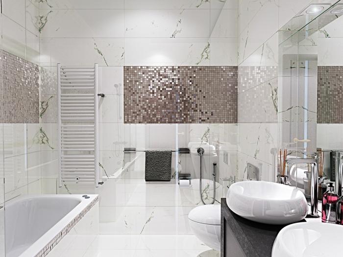 badezimmer deko, moderne badezimmereinrichtung in weiß und rosegold, designer möbel, mosaifliesen