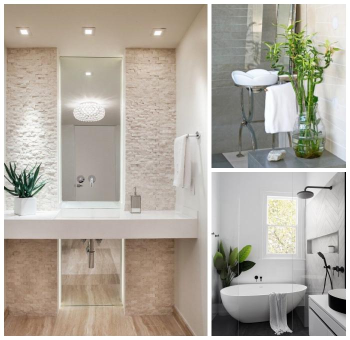 badezimmer dekorieren, 3d paneel, langer sepiegel mit beleuchtung, kleine grüne pflanze, kleines bad ideen