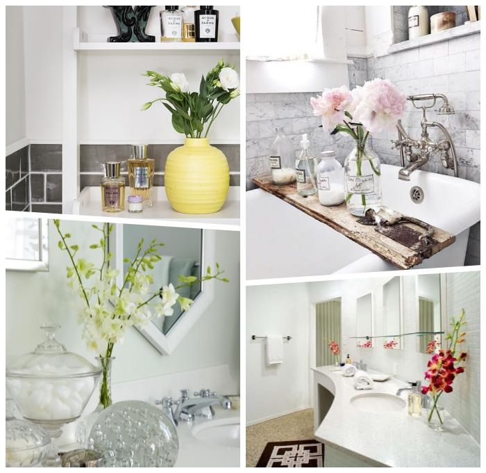 badezimmer dekorieren, gelbe vase mit blumen, dekoartikel fürs bad, baddekoration ideen