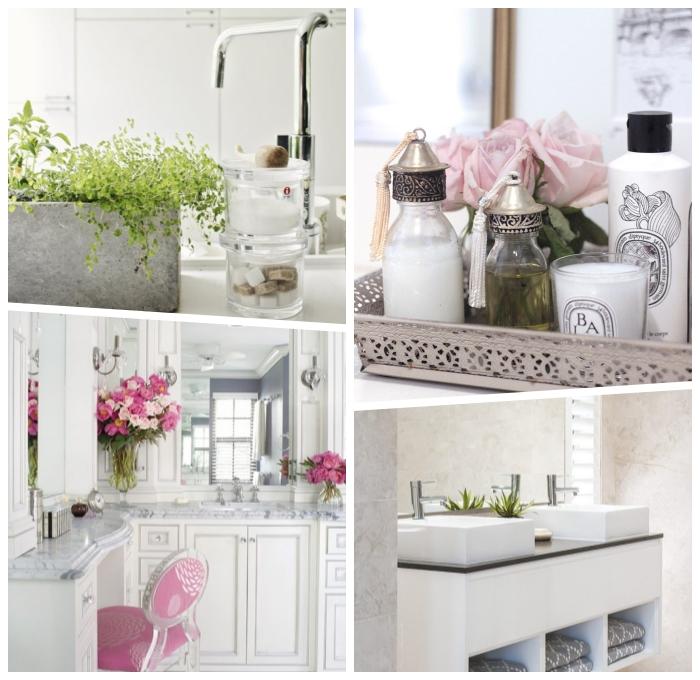 badezimmer dekorieren ideen, grüne pflanze, blumentopf in beton optik, rosa blumen, waschbecken mit unterschrank