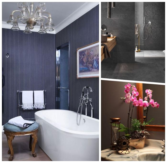 badezimmer dekorieren, freistehende wanne im retro stil, tapetten mit streifen, silberner kronleuchter, rote orchideen