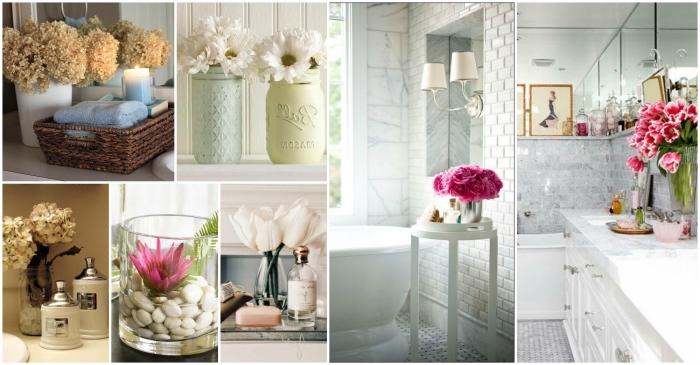 baddeko beispiele, badezimmer dekorieren, vasen mit blumen, badezimmerdeko ideen, wohnungdeko