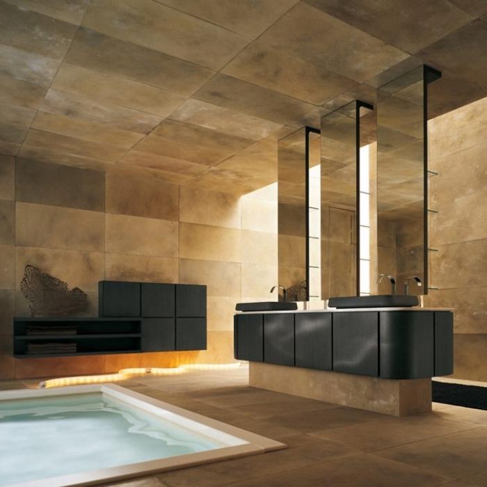 baddesign in schwarz und braun, badezimmer einrichtung, fliesen aus naturstein, schwarze waschbecken mit unterschrank