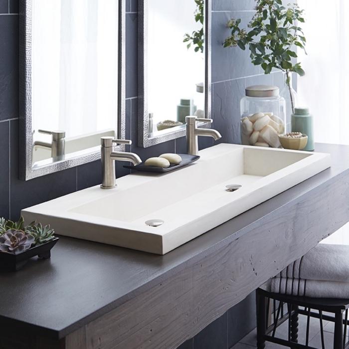 moderne badezimmermöbel, badezimmer einrichtung, langer waschbecken mit unterschrank aus holz