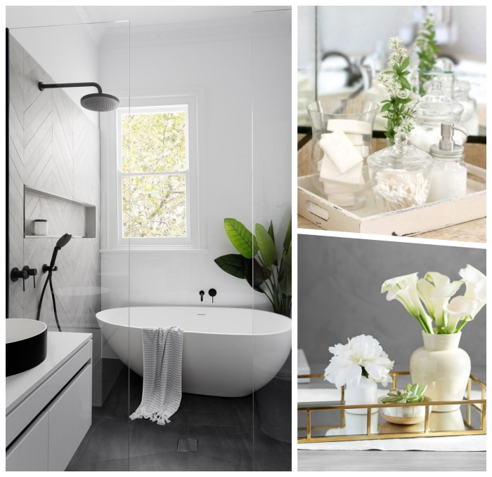 badezimmer gestaltungideen, kleid bad einrichten ideen, freistehende badewanne, baddeko mit blumen