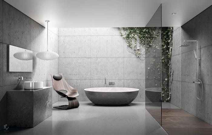 badezimmer ideen, moderne badgestaltung in grau, designer stuhl aus holz, trennwand aus glas, große fliesen in beton optik