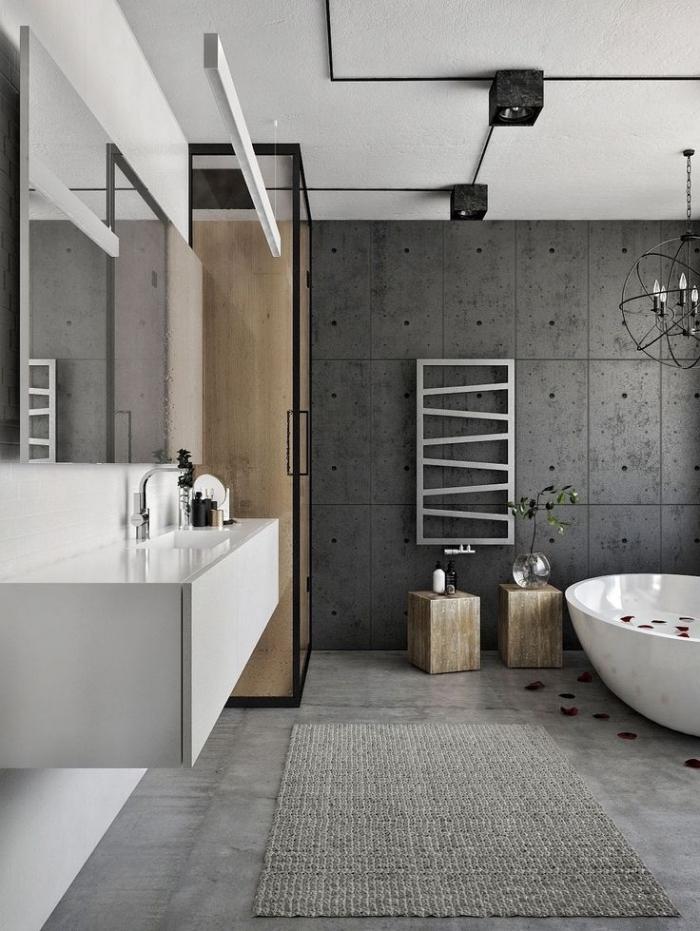 badezimmer ideen, moderne badezimmereinrichtung in weiß und grau, große fliesen in athrazit, kleines bad gestalten