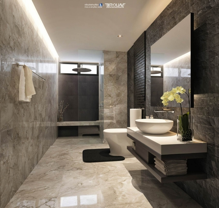 badezimmer ideen, fließen in marmor optik, kleines bad gestalten, runder waschbecken mit unterschrank