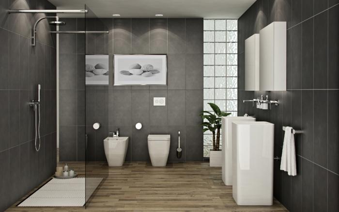 badezimmer ideen, badezimmereinrichtung in weiß und grau, bad mit duschkabinne, trennwand aus glas, designer möbbel