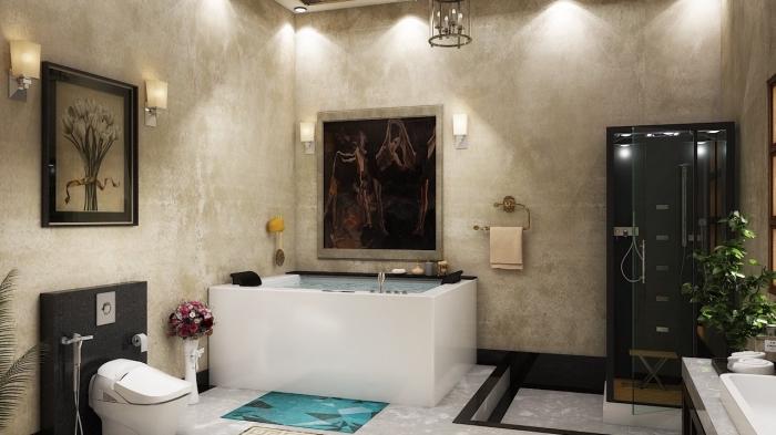 badezimmer neu gestalten, eckige badewanne, beige fliesen, schwarze duschkabine, badezimmerbeleuchtung