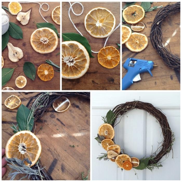 collage diy anleitungen schritt für schritt kranz weihnachten basteln mit trockenen orangen inspiration weihnachten deko