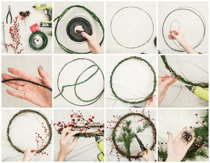 collage schritt für schritt diy anleitung weihnachtskranz tür selber basteln kreative weihnachtsdekoration machen kranz aus zweigen und roten blüten