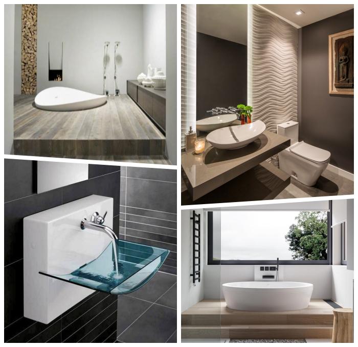 deko für badezimmer, designer möbel, badmöbel ideen, badezimmer einrichten, waschbecken aus glas, 3d wandpaneel