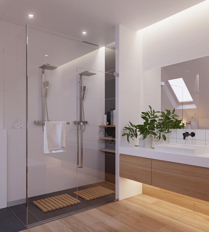 deko für wohnzimmer, grüne pflanze, trennwand aus glas, kleines bad ideen, badeinrichtung in weiß und holz