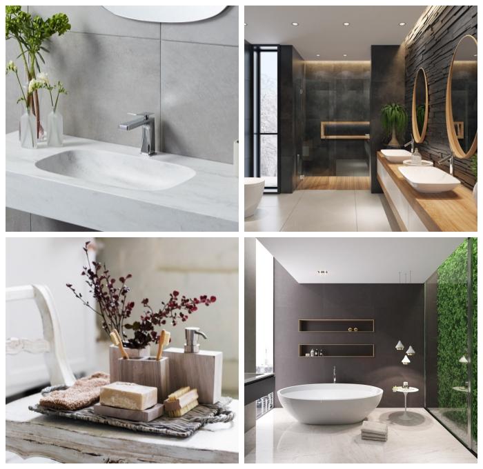 deko für badezimmer ideen, bad einrichten und dekorieren nach feng shui, weißer waschbecken, pflanzenwand