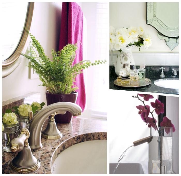 deko für badezimmer, waschbecken mit platte aus granit, grüne pflanze, rosa orchidee, badezimmerdeko