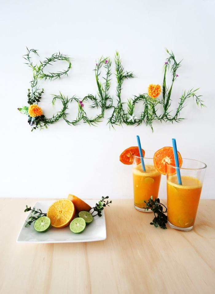 deko ideen, cocktails mit orangen, küche dekorieren, sommerparty dekoration