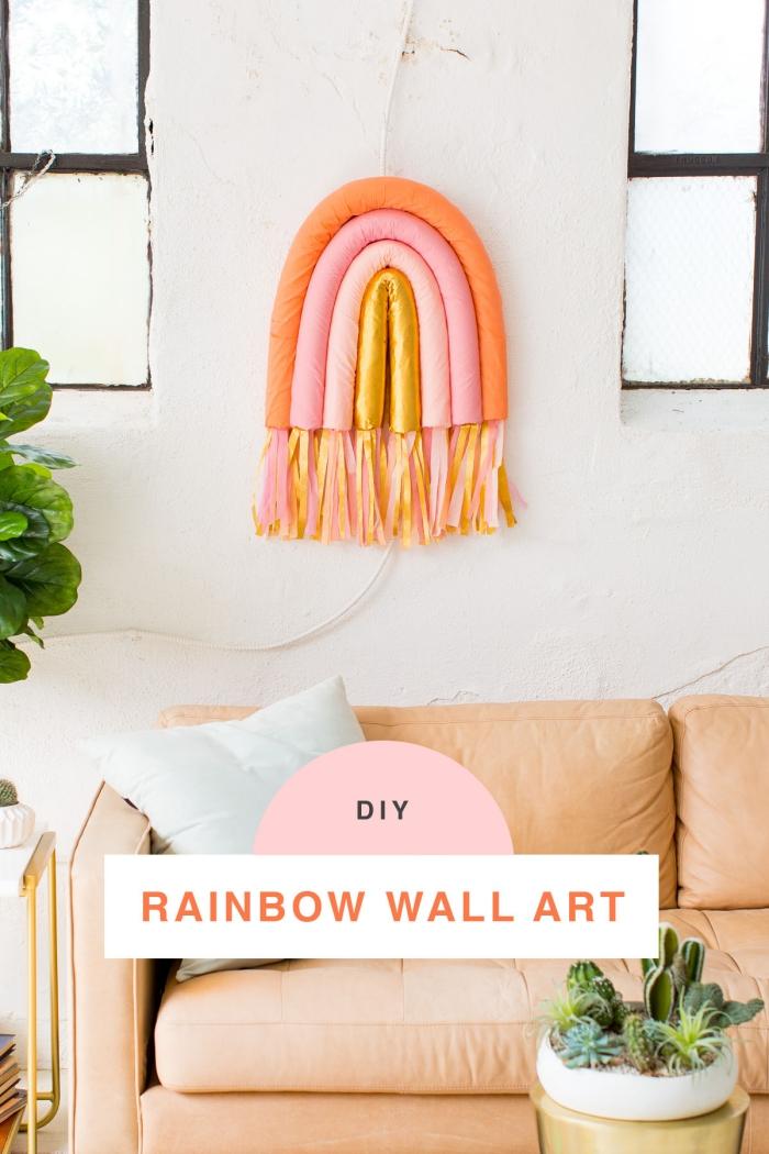 deko ideen für zuhause, parytdeko basteln, wanddeko regenbogen, wohnzimmer dekorieren