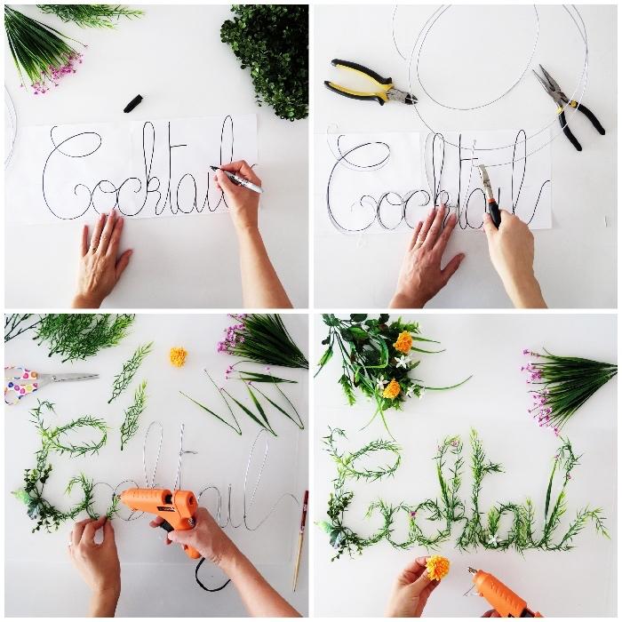 deko ideen, partydeko basteln, buchstaben aus draht mit grünen stängeln dekorieren